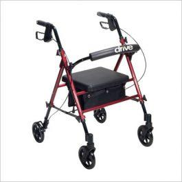Adjustable seat height rollator