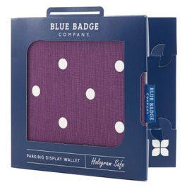 Spotty grape blue badge holder