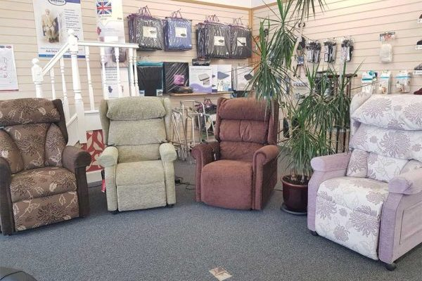 Riser recliner chairs showroom
