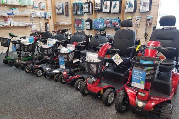 Scooters in showroom