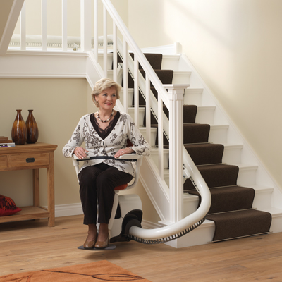 flow 2 curved stairlift thyssenkrupp stairlifts bainbridge mobility ltd. Black Bedroom Furniture Sets. Home Design Ideas