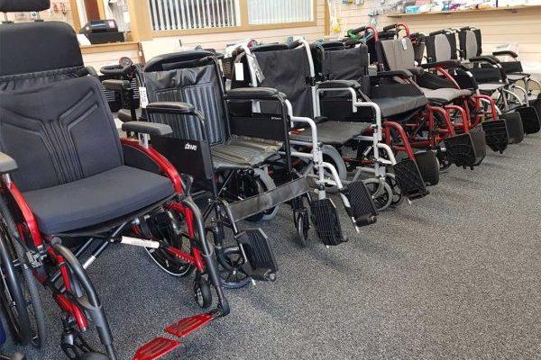 Wheelchairs in showroom
